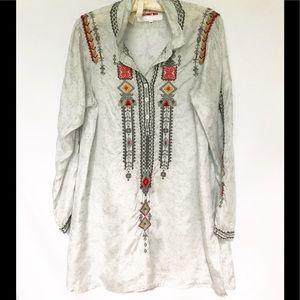 Johnny Was *BIYA* long sleeve embroidered tunic